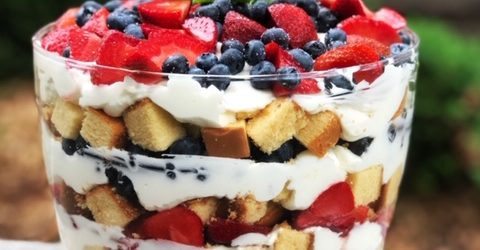 4th of July— Strawberry Blueberry Trifle